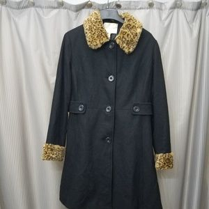 Black Jaclyn Smith wool trench coat
